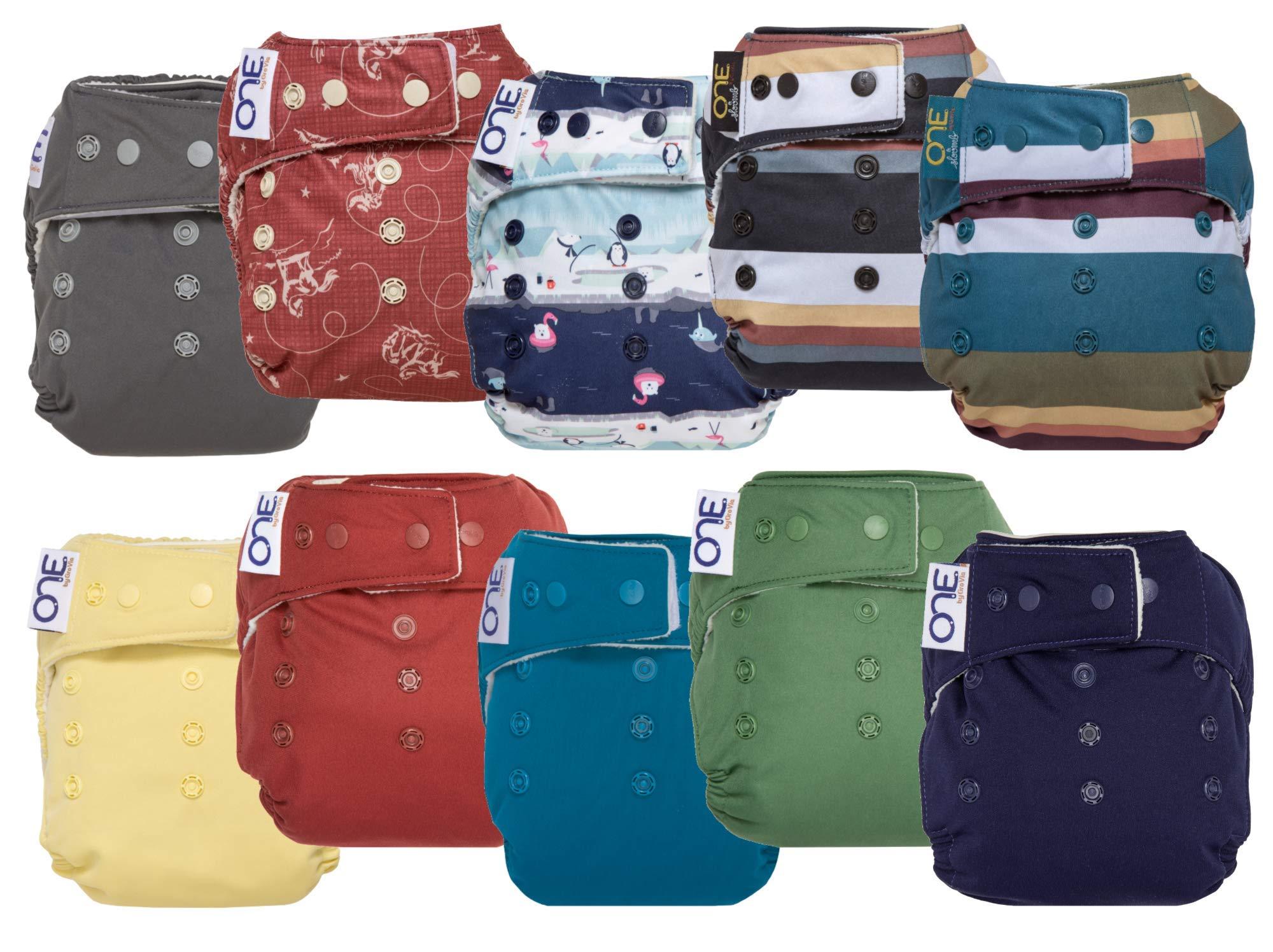 GroVia O.N.E. Reusable Baby Cloth Diaper - 10 Pack (Color Mix 1)