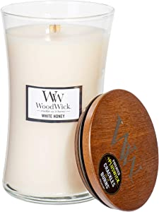 WoodWick White Honey Scented Crackling Wooden Wick Hourglass Candle in Clear Glass Jar, Large - 21.5 Oz