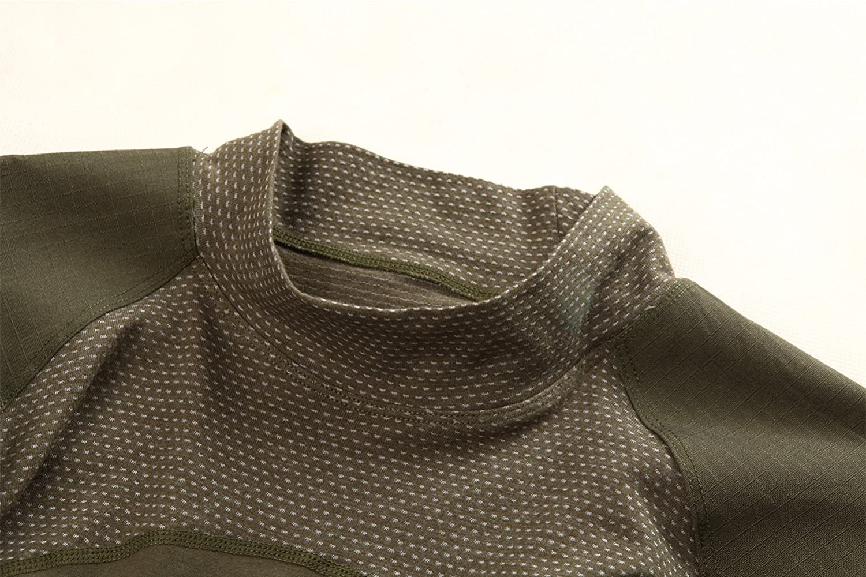 TACVASEN Mens Military Combat Crew Neck Long Sleeve Camo T-Shirt