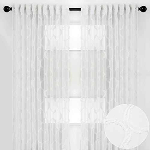 Chanasya 2-Panel Moroccan Embroidered Design Textured Sheer Curtain Panels – for Windows Living Room Bedroom Kitchen Office – Translucent Window Drapes for Home Decor – 52 x 108 Inches Long – White