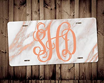 Monogram Car Tag Car Accessory Monogrammed Car Tag Front Car Tag Rose Gold Glitter Design Car License Plate Personalized License Plate