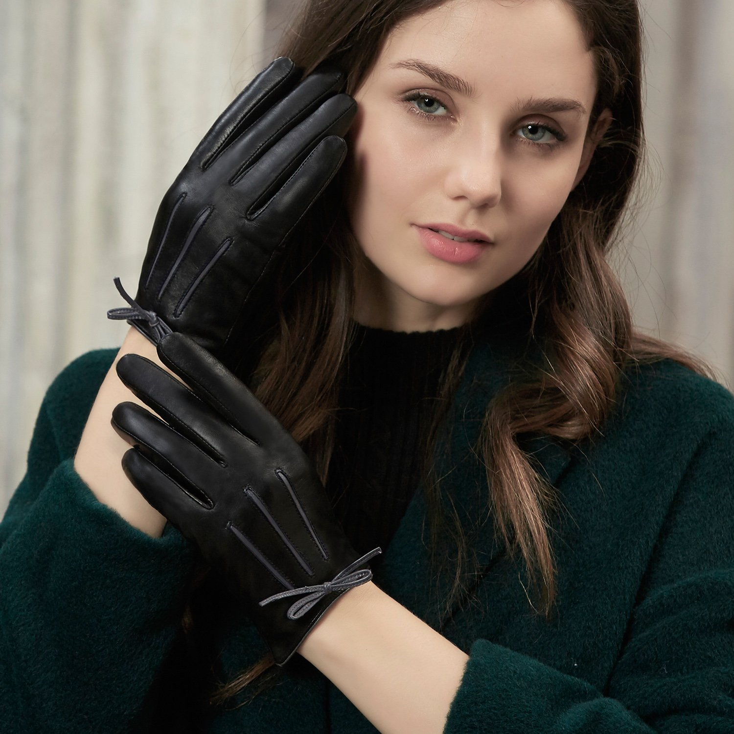GSG Womens Feminine Colorblock Bow Touchscreen Driving Gloves Ladies Genuine Leather Warm Outdoor Gloves Winter Nice Gifts Black 7 by GSG (Image #2)