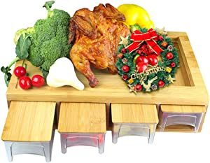 Bamboo Cutting Board with Drawers/Trays/Containers/Storage and Lids Chopping board with juice grooves, handles & food sliding opening, cutting board with 4 trays for easy food prep and cleanup …