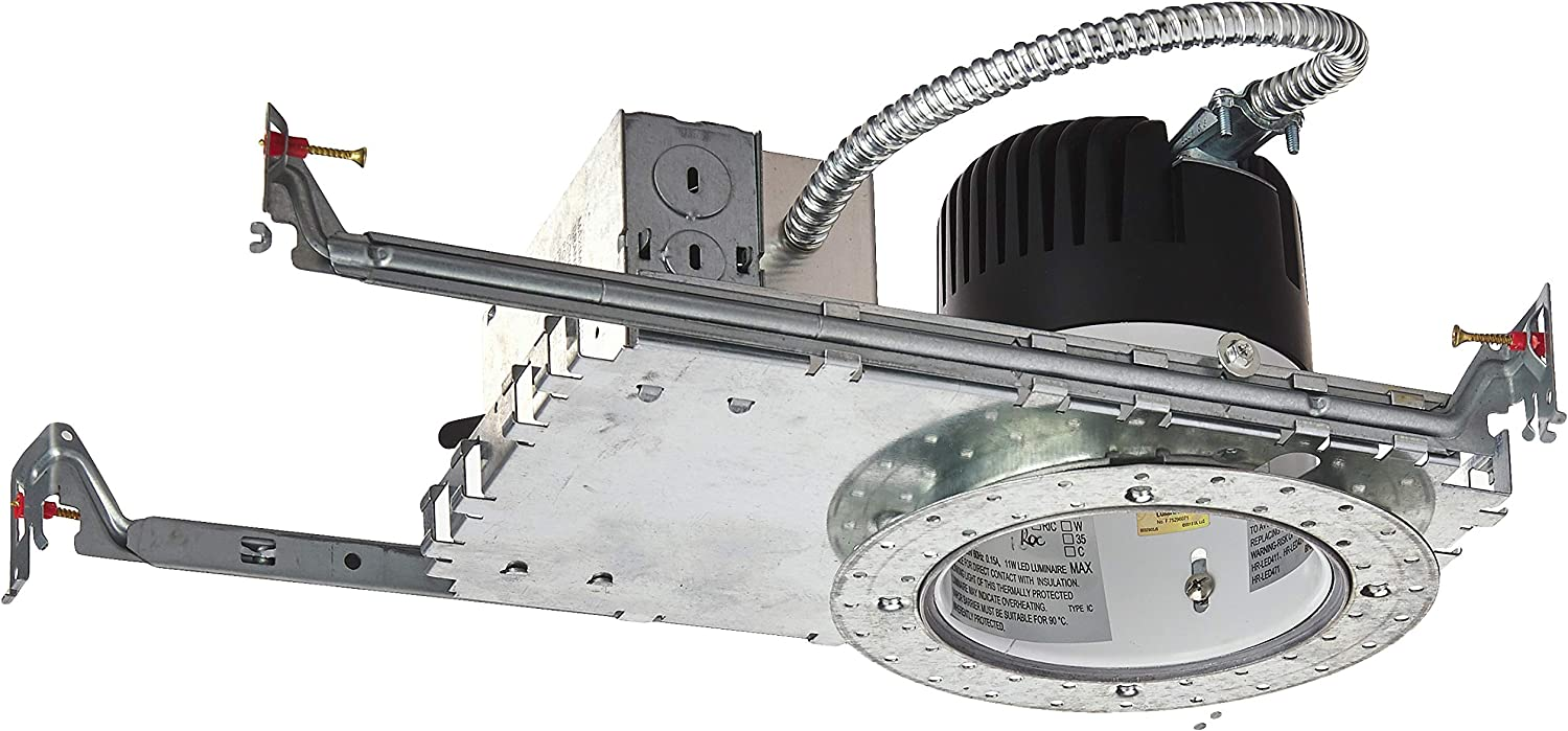 New Construction Invisible Trim Ic-Rated Housing 4500K WAC Lighting HR-LED418-NIC-ROC LEDme 4-Inch Recessed Downlight