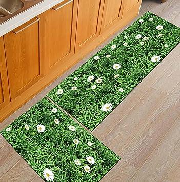 Nonslip Kitchen Mats And Rugs Grass Wild Flower Indoor Floor Area Rug Low Profile Absorbent Runner For Home Bathroom Bath Bedroom Furniture Decor