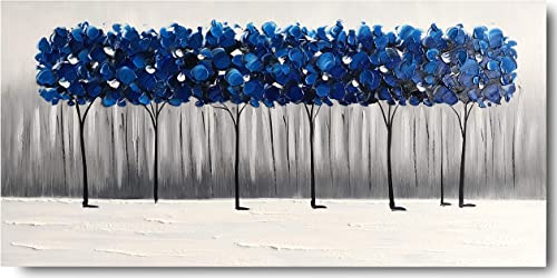 Yihui Arts Landscape Painting Canvas Art Handmade Blue Ready to Hang 24Wx48L