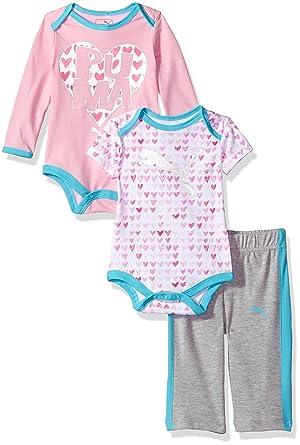 9ee7ac25dddd4 PUMA Baby Girls Three Piece Creeper Bodysuit Set, Light Heather Grey ...