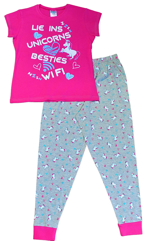 Lie Ins Unicorns Besties WiFi Girls Long Pyjamas Pink