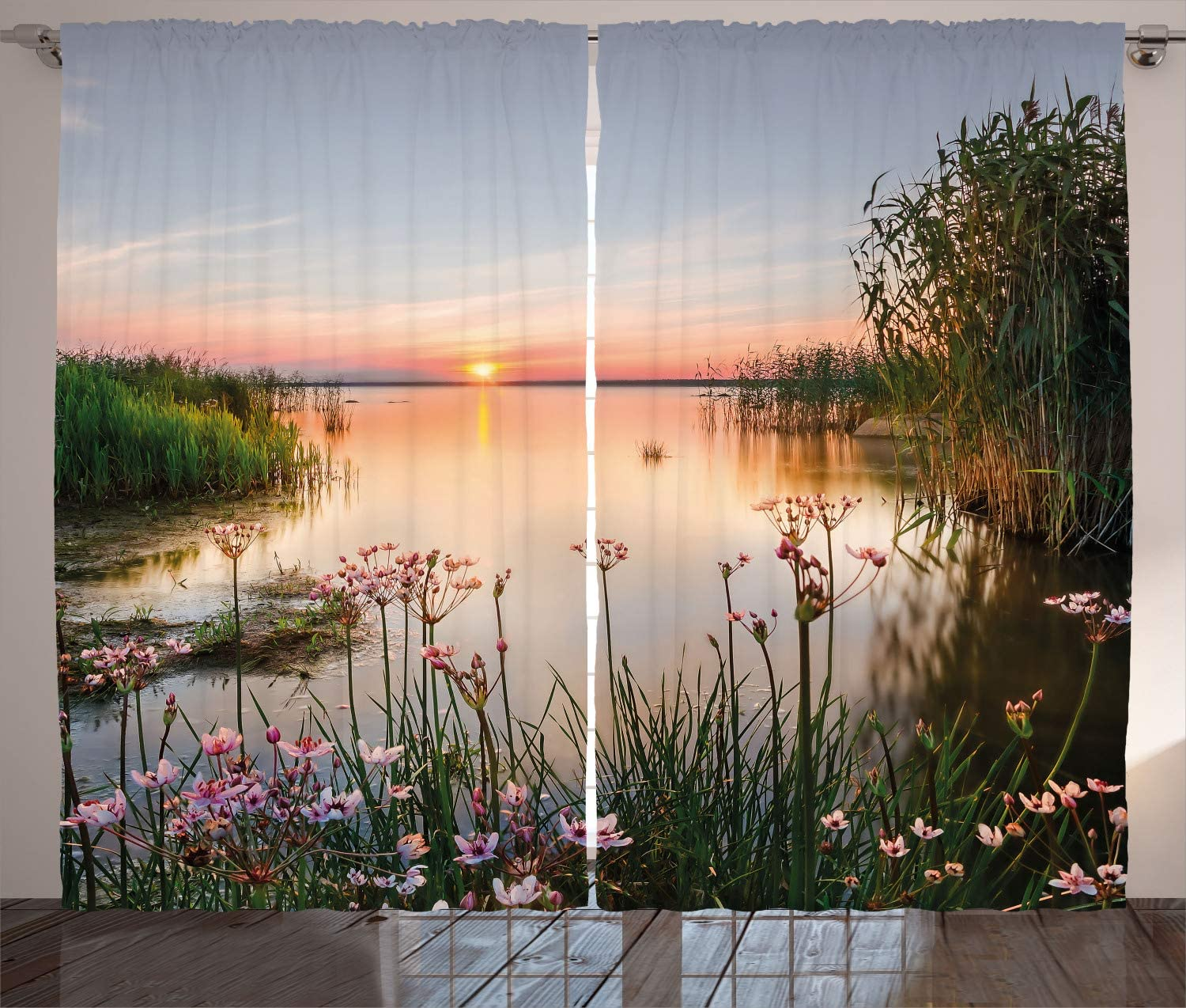 Ambesonne Landscape Curtains, Chudskoy Peipsi Lake Scenery View in Nature with Flowers Leaves Artwork Photo, Living Room Bedroom Window Drapes 2 Panel Set, 108