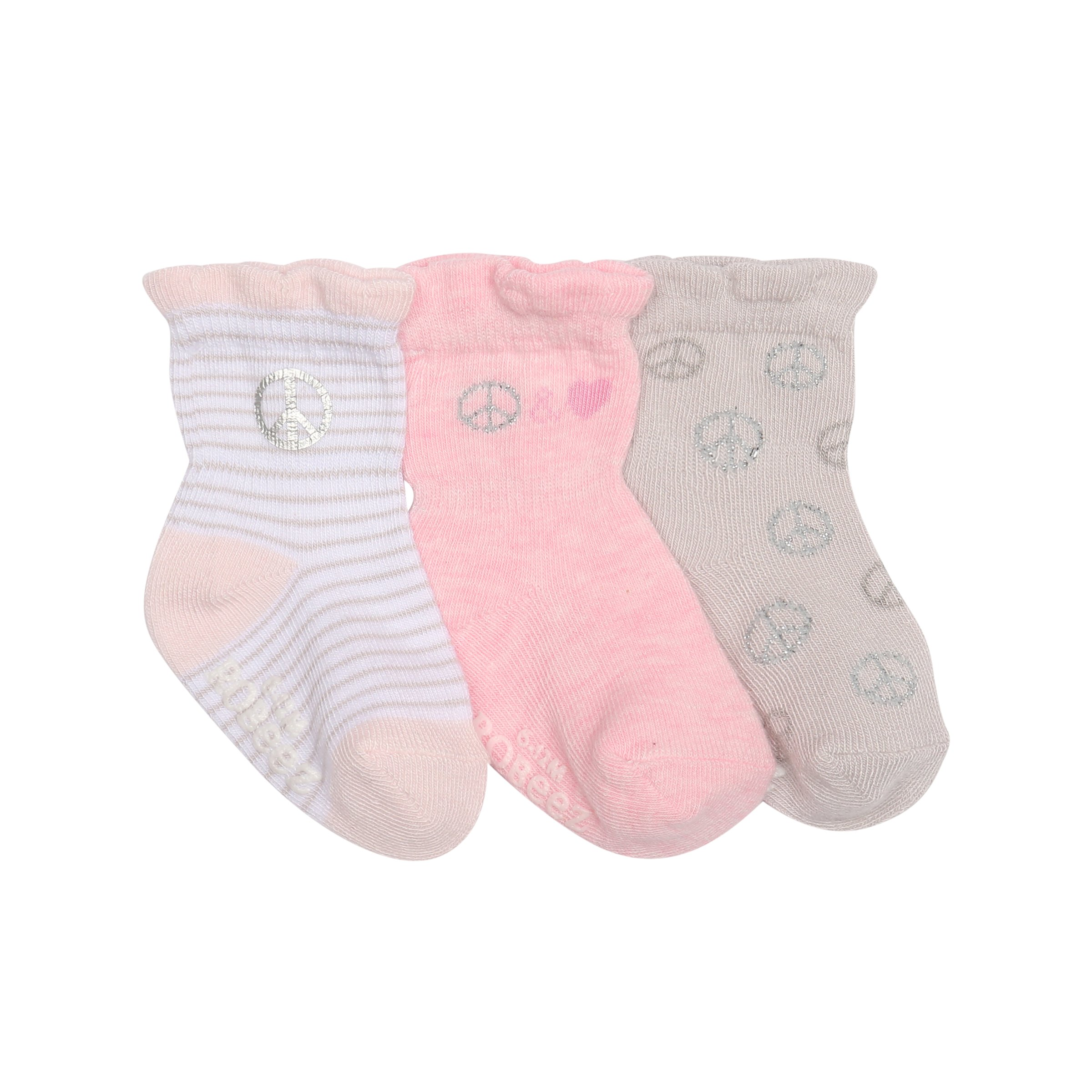 Robeez Baby Girls 3-Pack Socks, Peace/Love/Pink/Grey/White, 12-24 Months