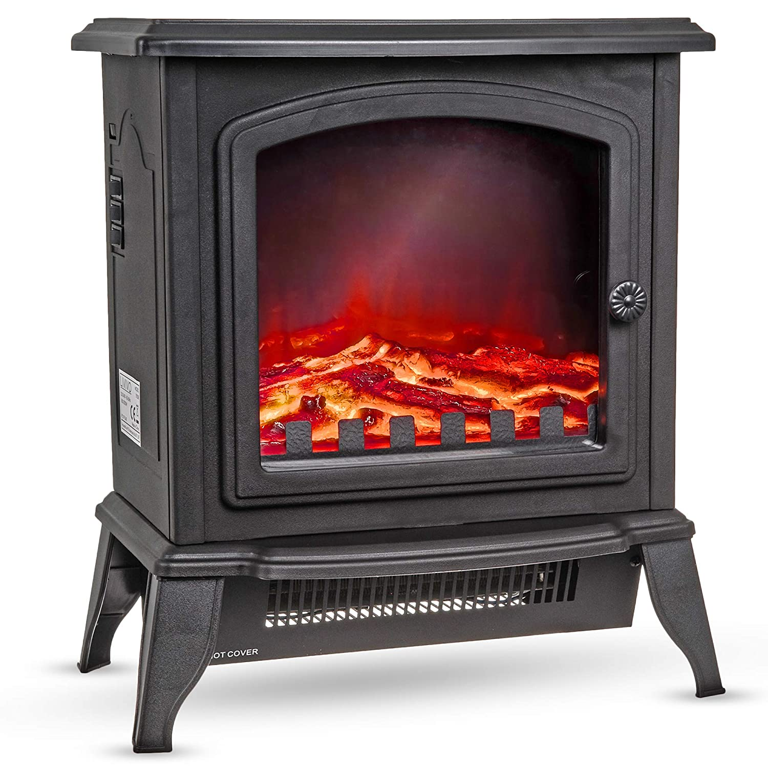 Livivo New Log Effect Electric Stove Fire 2000w Independent Light And Heat Controls Automatic Safety Cut Out Compact
