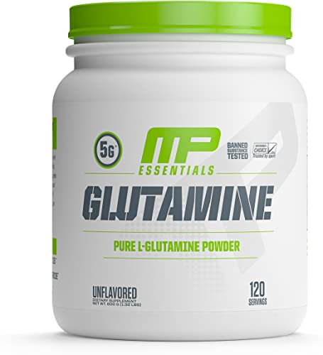 MP Essentials 100 Pure Glutamine Powder, Muscle Growth and Recovery, L-Glutamine Powder, Promotes Recovery after Intense Exercise, Helps Repair Muscles, MusclePharm, 300 g, 120 Servings