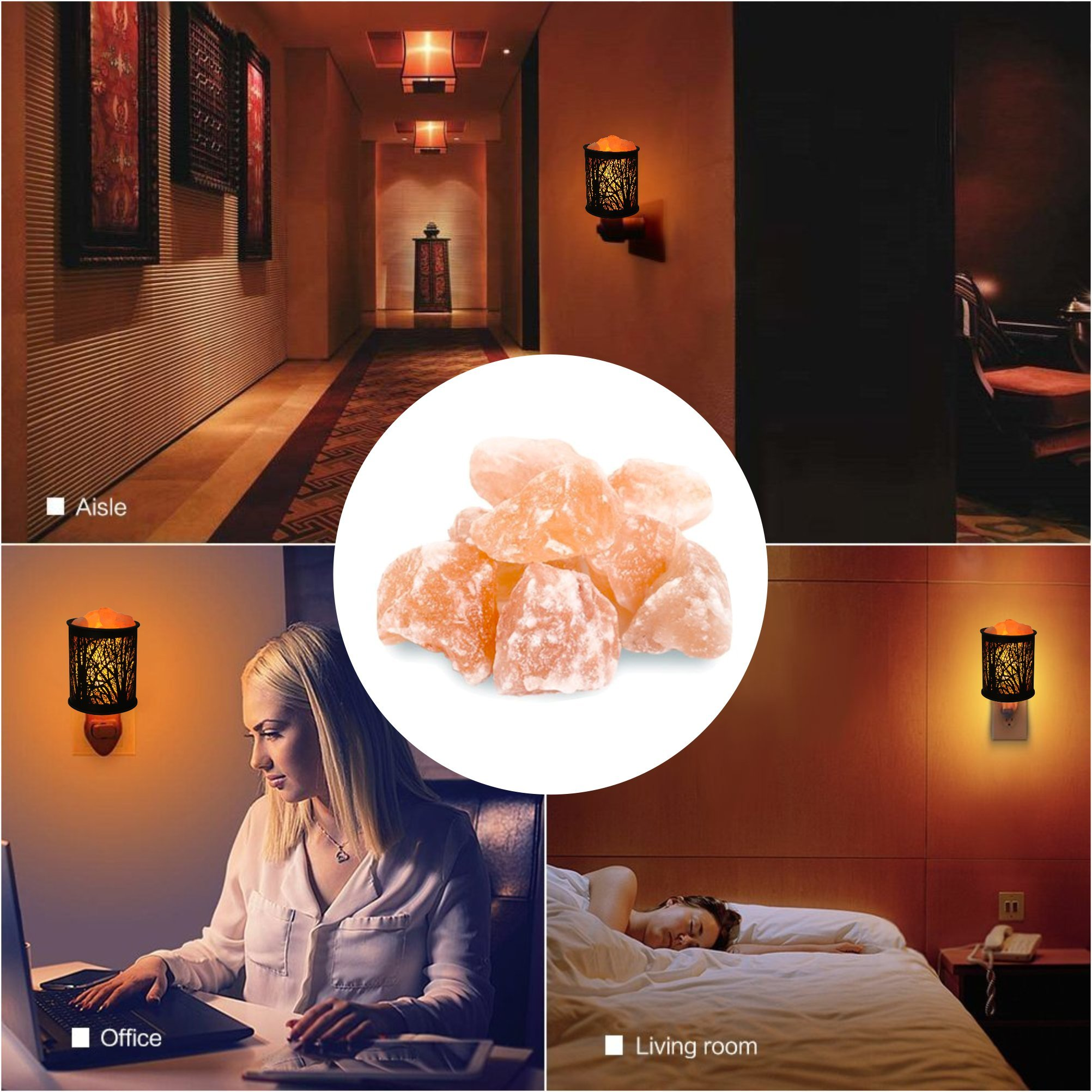 Natural Himalayan Salt Rock Lamp,Salt Night Light,Natural Himalayan Salt Rock Lamp,Mini Crystal Wall Light Night Lights,ETL Approved Wall Plug for Decoration and Lighting,2 Pack by Shineled (Image #6)