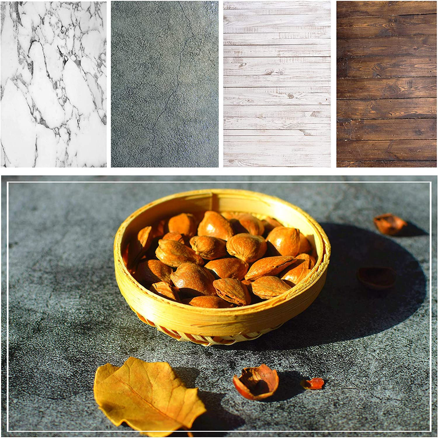 shengzkc Marble Wood Backdrop Photography Paper 4 Pack Kit 21x33Inch/53x85cm Flat Lay Double Sided Rustic Photo Background Rolls for Food Product Jewelry Tabletop Props Pictures