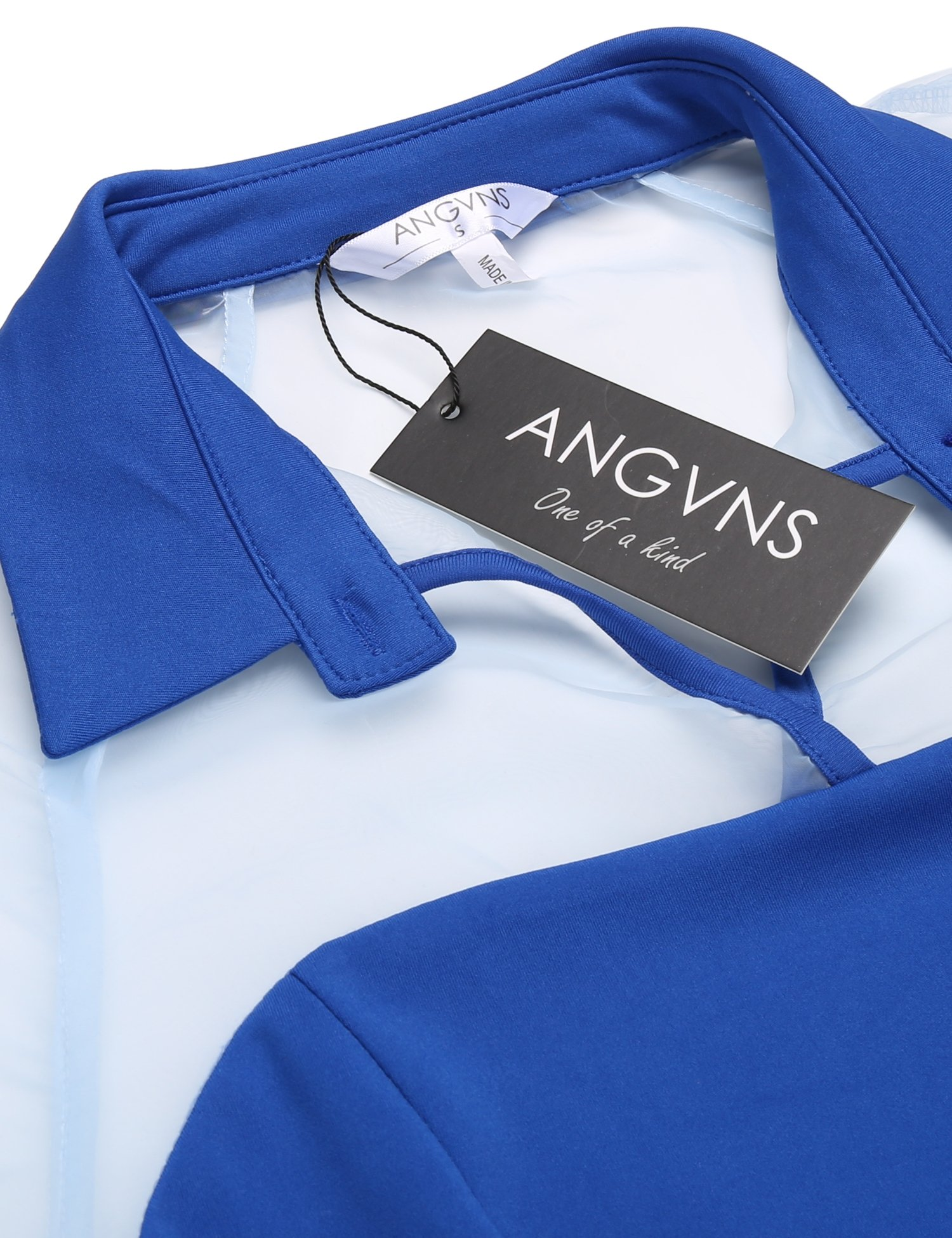 ANGVNS Women Short Sleeve Collar Neck Fit and Flare Cocktail Party Short Mini Dress, Blue, L