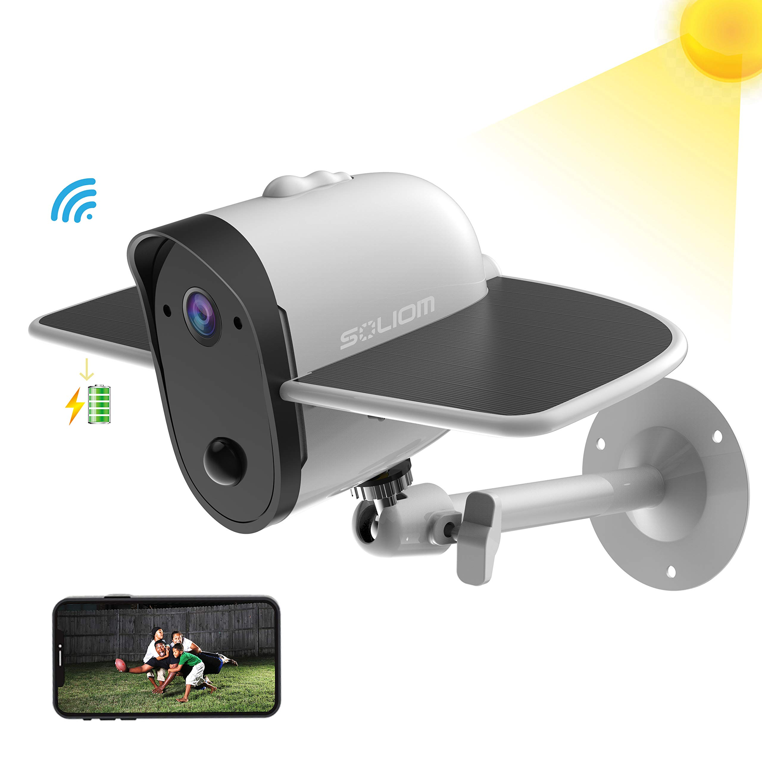 Outdoor Solar Battery Powered Security Camera, SOLIOM S60 1080p Home Wireless IP Cam with Accurate Motion Detection; Wide Angle Range, Quick Alert and Night Vision by SOLIOM