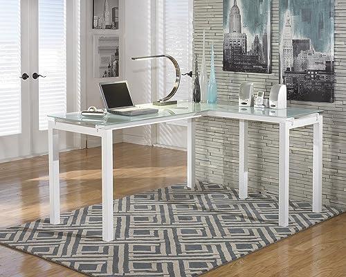 FurnitureMaxx Baraga White L-Shape Home Office Desk
