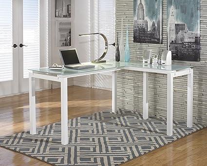 Amazoncom Baraga White L Shape Home Office Desk Kitchen Dining