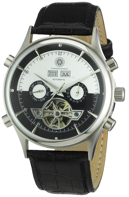 Constantin Durmont Baton Rouge - Reloj analógico de caballero automático con correa de piel negra - sumergible a 30 metros