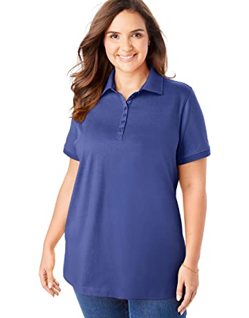 4dbd8003f Woman Within Women's Plus Size Perfect Polo Shirt