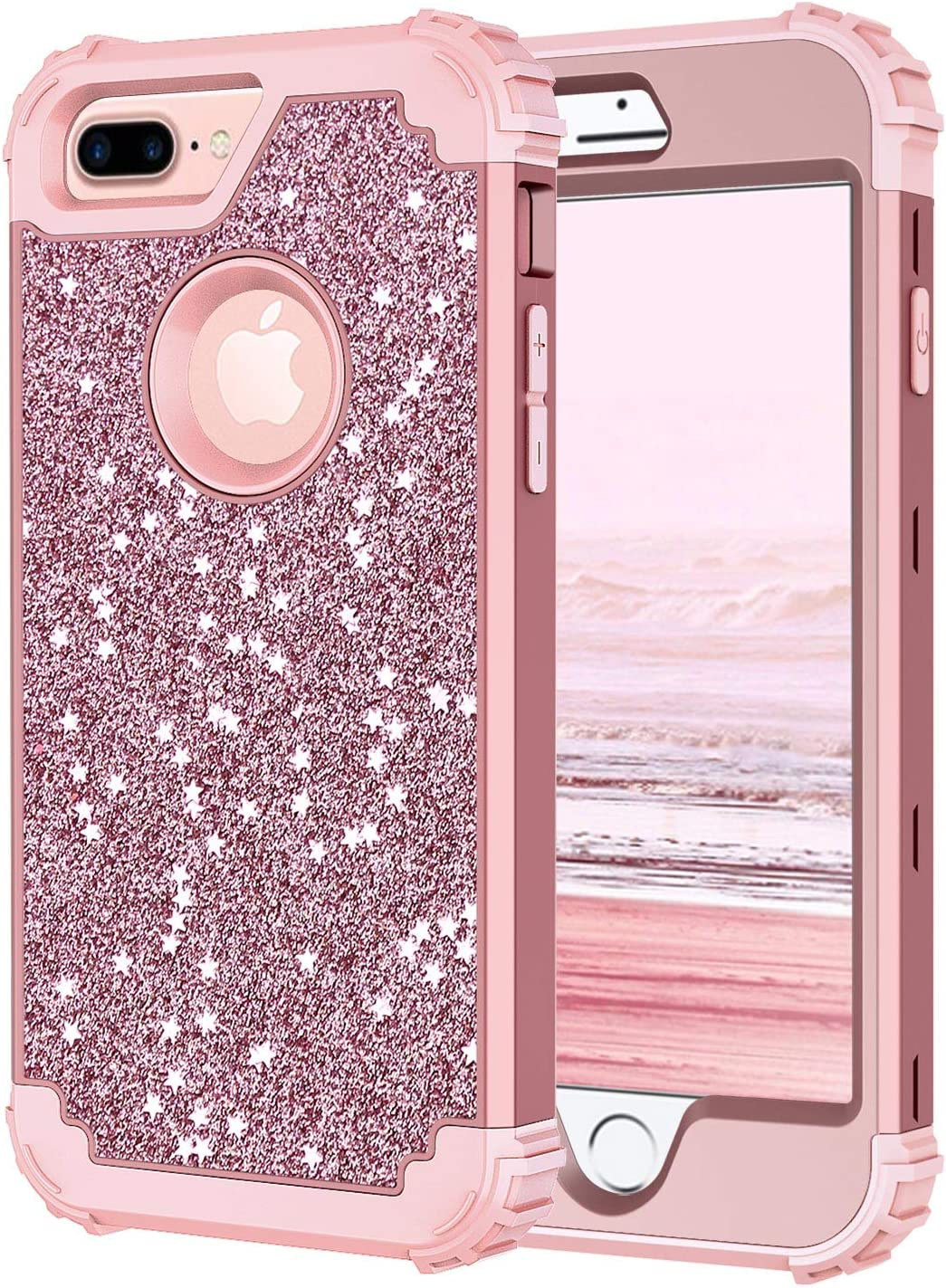 Hekodonk for iPhone 8 Plus/7 Plus Case,3 Layer Luxury Bling Sparkle Shiny Heavy Duty Shockproof Fullbody Protective Impact Hybrid Cover for Apple iPhone 8 Plus/iPhone 7 Plus Glitter Rose Gold