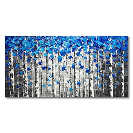 Textured Forest Abstract Canvas Wall Art Hand Painted Modern Blue Tree Oil  Painting For Decoration