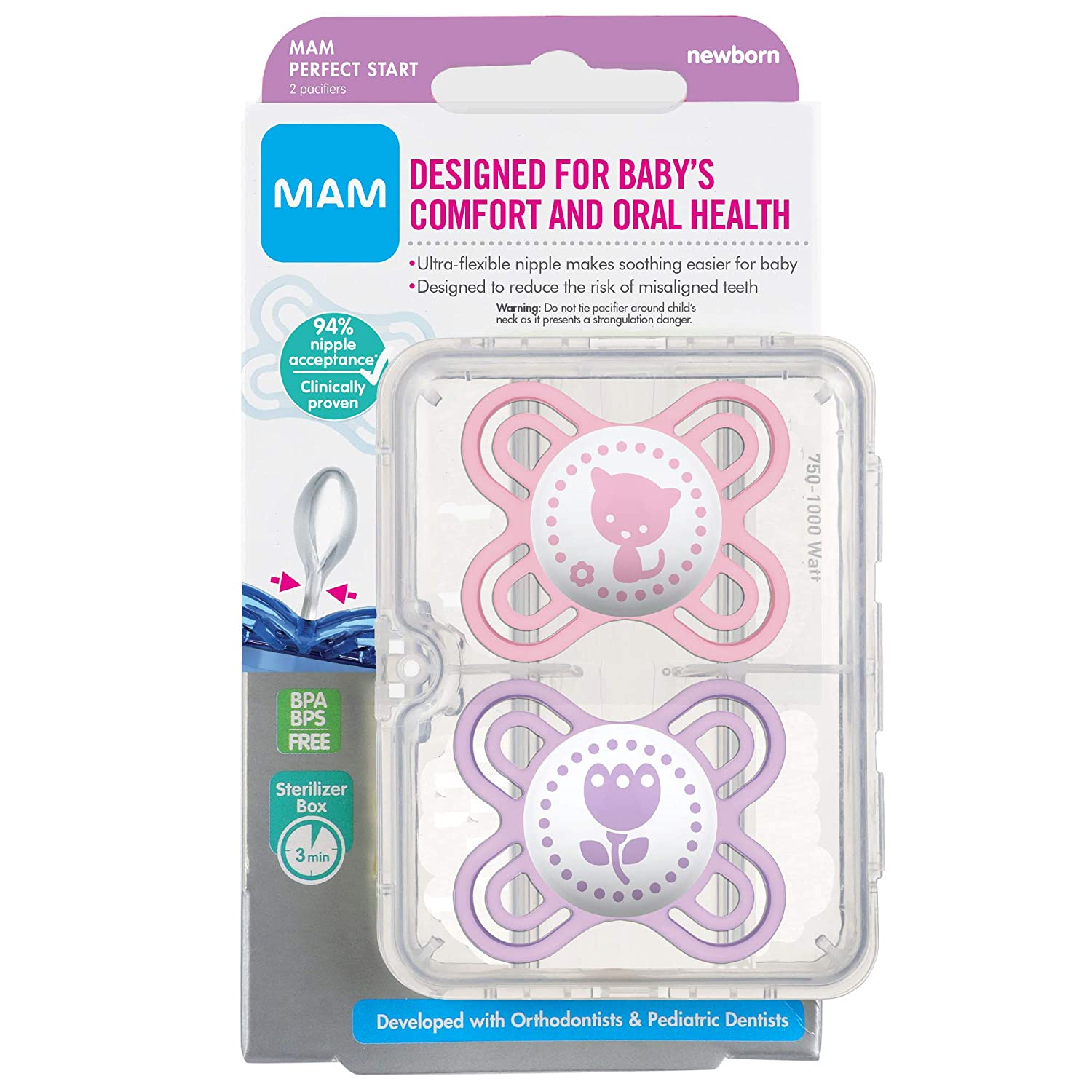 MAM Perfect Start Pacifiers, Orthodontic Pacifiers (2 pack) MAM Newborn Pacifiers, Best Pacifier for Breastfed Babies, Baby Girl Pacifier, Pink and ...