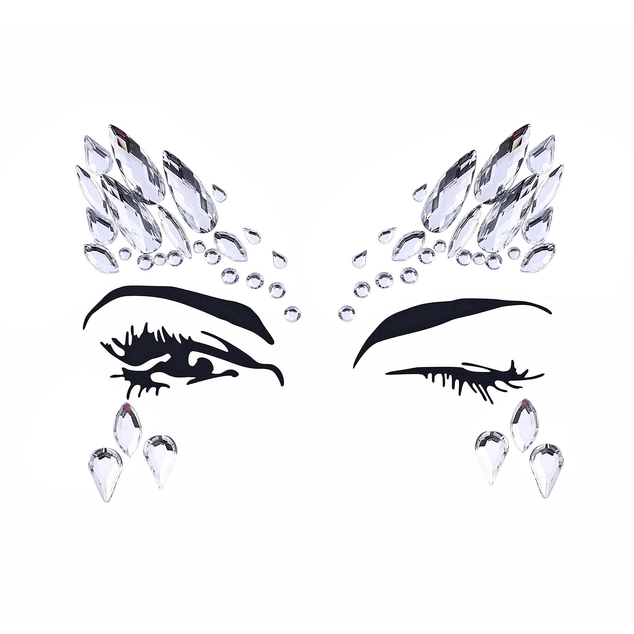 8 Sets Women Gems Glitter Rhinestone Mermaid Face Jewels Tattoo Crystal Tears Gem Stones Bindi Temporary Stickers by du fangbin (Image #6)