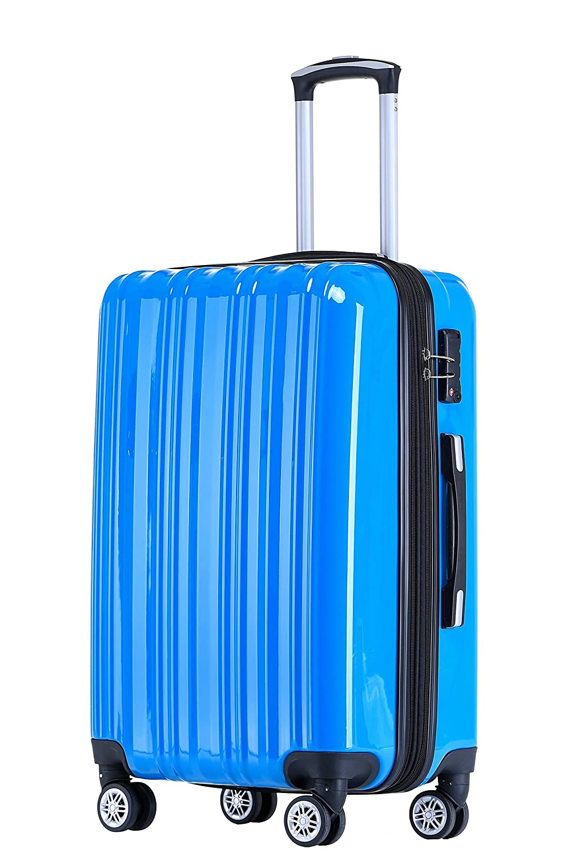 Münicase- Hartschalen Koffer Reisekoffer Trolley Rollkoffer Polycarbonat TSA-Schloß Kofferset Gepäckset (Champagner, Kleiner Koffer (ca.54cm))