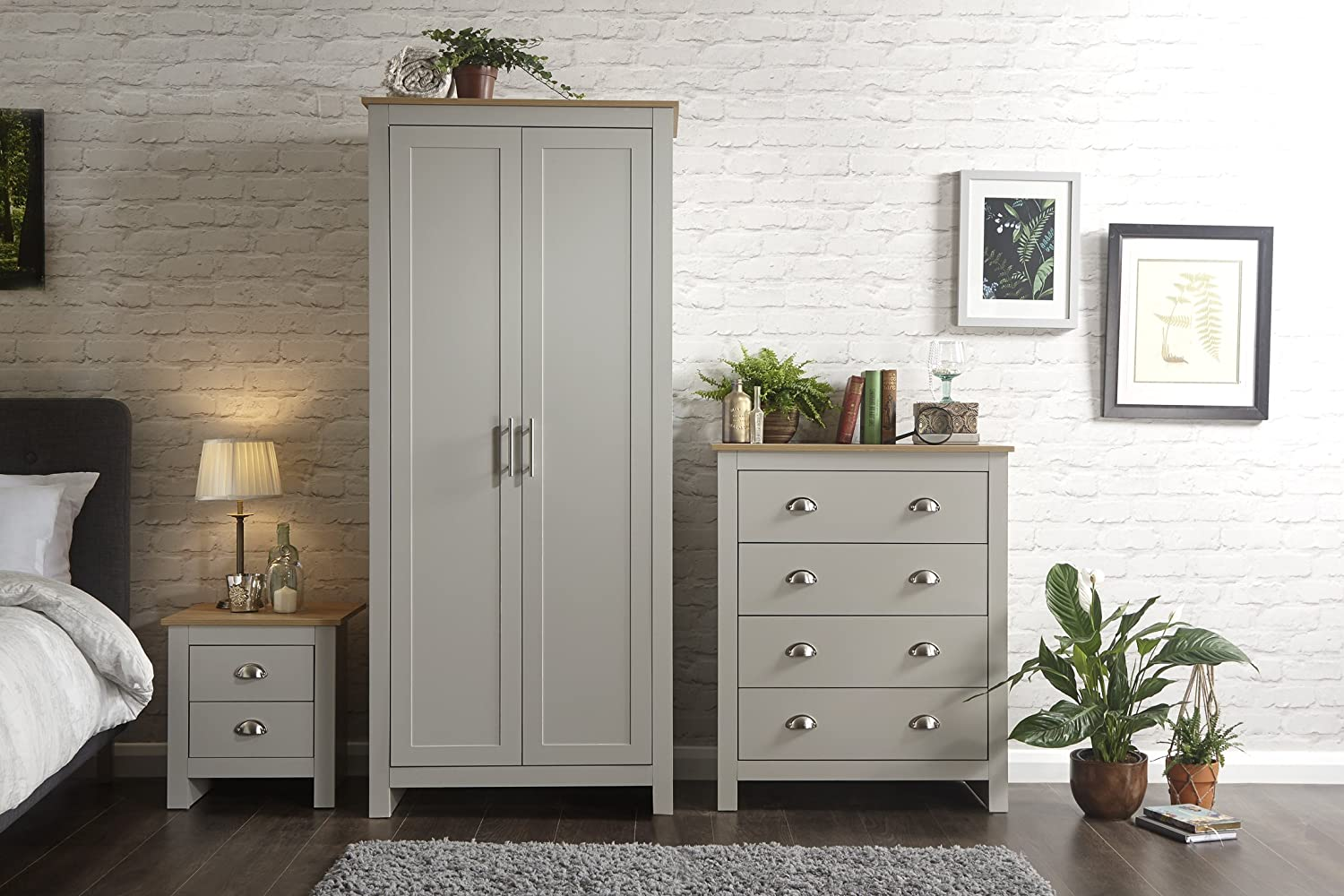 Home Source Country Cottage Pine MDF Bedroom Set - Wardrobe Chest of  Drawers Bedside - Grey