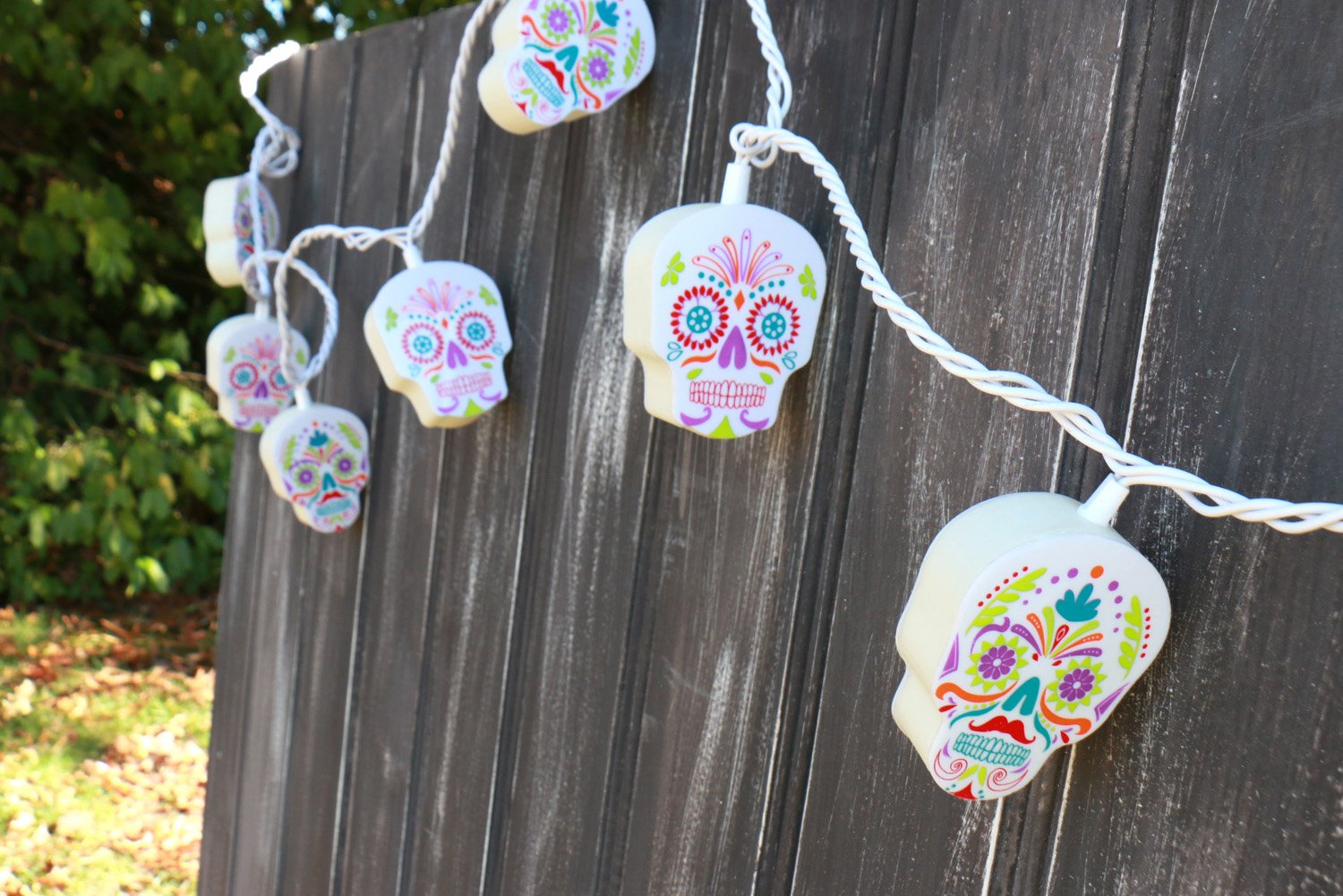 Day Of The Dead Sugar Skull Shaped String Lights My