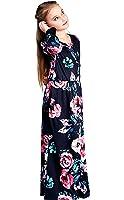 CVERRE Girl Flared Floral Pocket Maxi Quarter Sleeves Long Holiday Dress