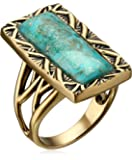 """Barse """"Parallel"""" Bronze and Genuine Turquoise Ring"""