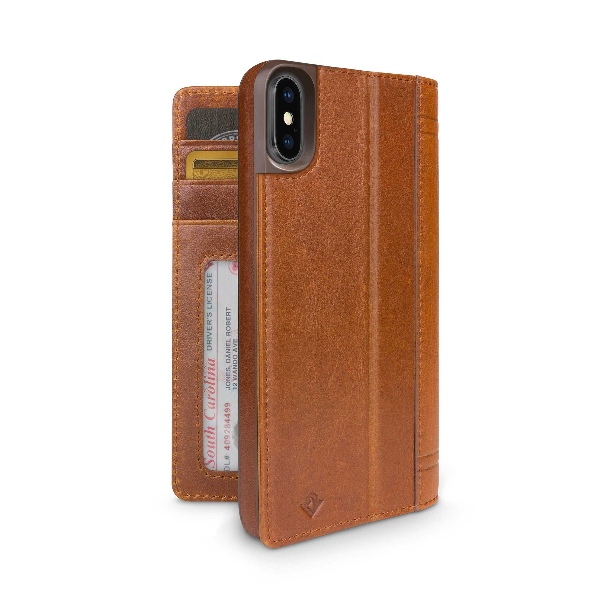 Twelve South Journal for iPhone XS / iPhone X | Leather Wallet Shell and Display Stand (Cognac) by Twelve South