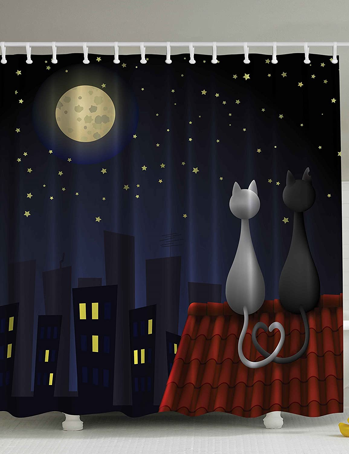 69x70 Inch Dark Blue Red Gray Yellow Cute Sweet Kitten Cats on Roof with Love Moonshine and Stars Girls Boys Fabric for Nursery Daycare Ambesonne Animal Kids Bathroom Shower Curtain Baby Decor