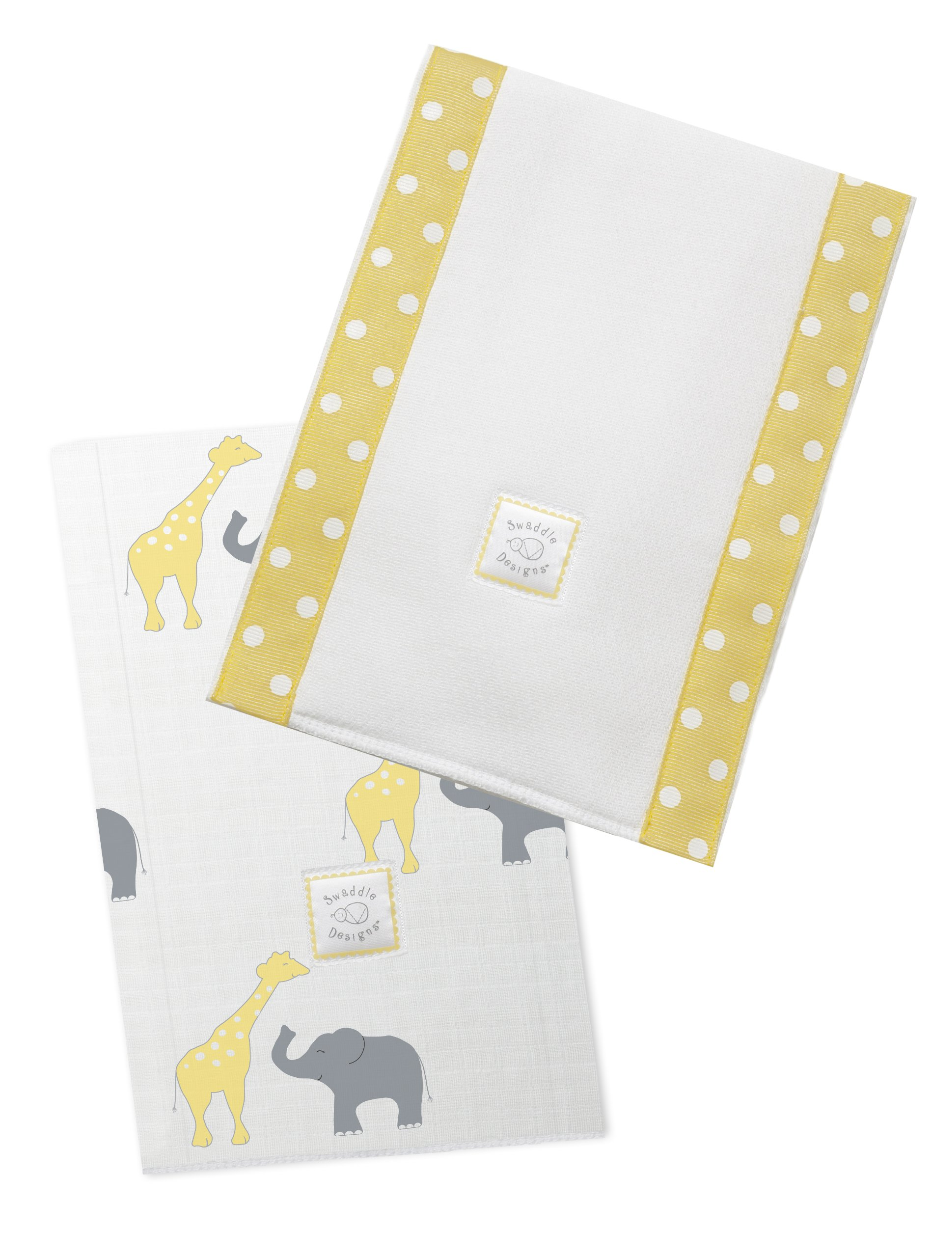 SwaddleDesigns Baby Burpies, Set of 2 Cotton Burp Cloths, Yellow Safari Fun by SwaddleDesigns