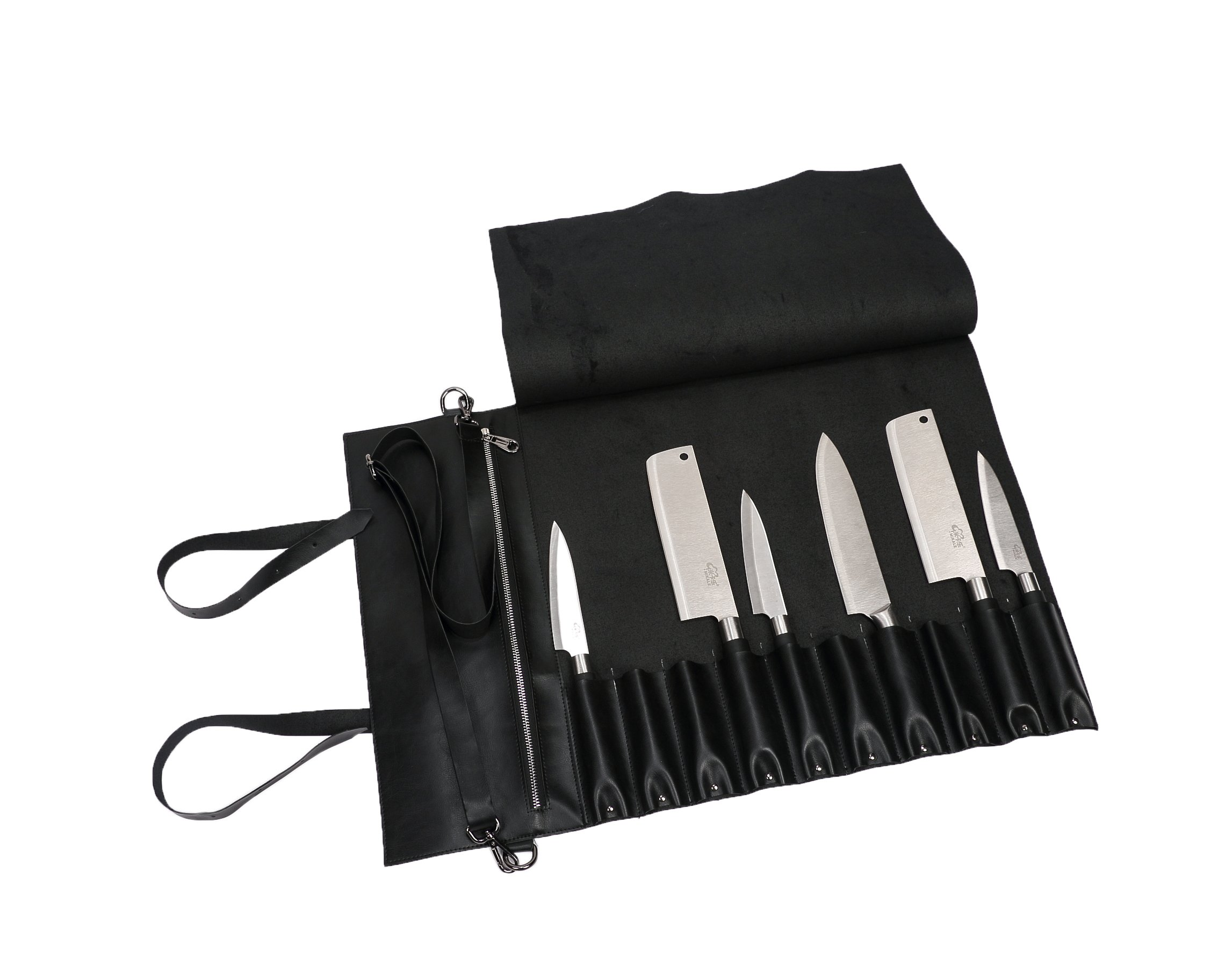 Hersent Waterproof Leather Chef's Knife Roll Up Storage Bag with10 Slots PLUS a Zipper Pocket for Small Kitchen tool Utensils Portable Chef Knife Case With Handy Handle & Shoulder Strap HGJ17-A-US