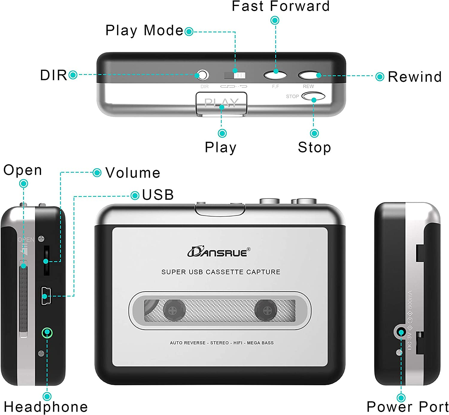 Digital Files for Laptop PC and Mac with Headphones from Tapes to Mp3 New Technology,Silver Dansrueus Updated Cassette to MP3 Converter USB Cassette Player from Tapes to MP3