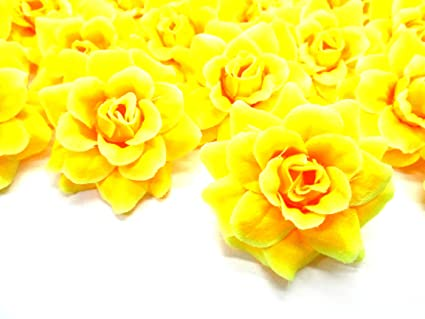 Amazon silk yellow roses flower head 175 artificial silk yellow roses flower head 175quot artificial flowers heads fabric floral supplies wholesale mightylinksfo