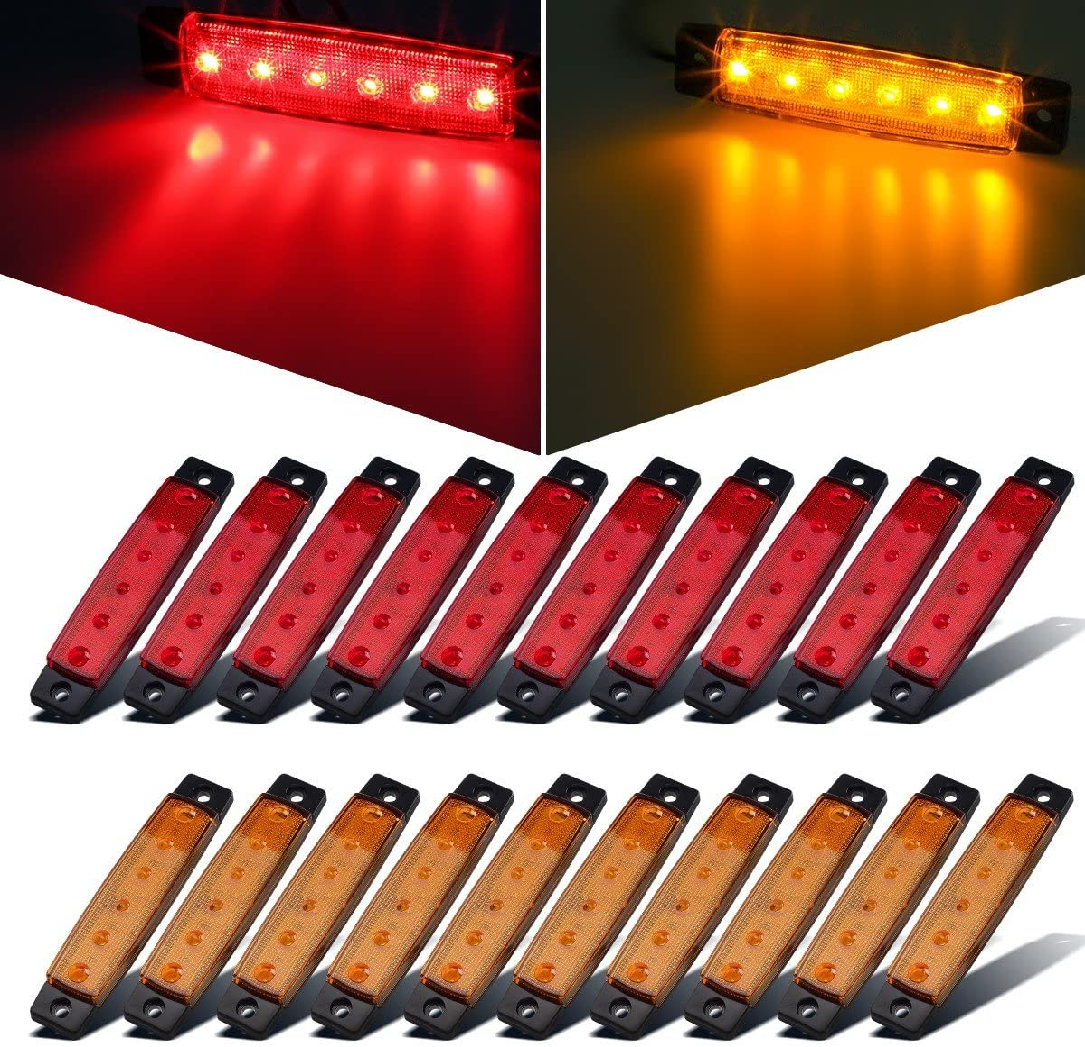 "Partsam 20x 3.8"" Amber/Red Clearance lights Truck Trailer RV Lorry Van Side Marker Indicators Decorative, Thin Line 3.8"" 6 LED Amber Trailer Marker Lights Parking Turn Signal Lights 81Ahzfz2XEL"