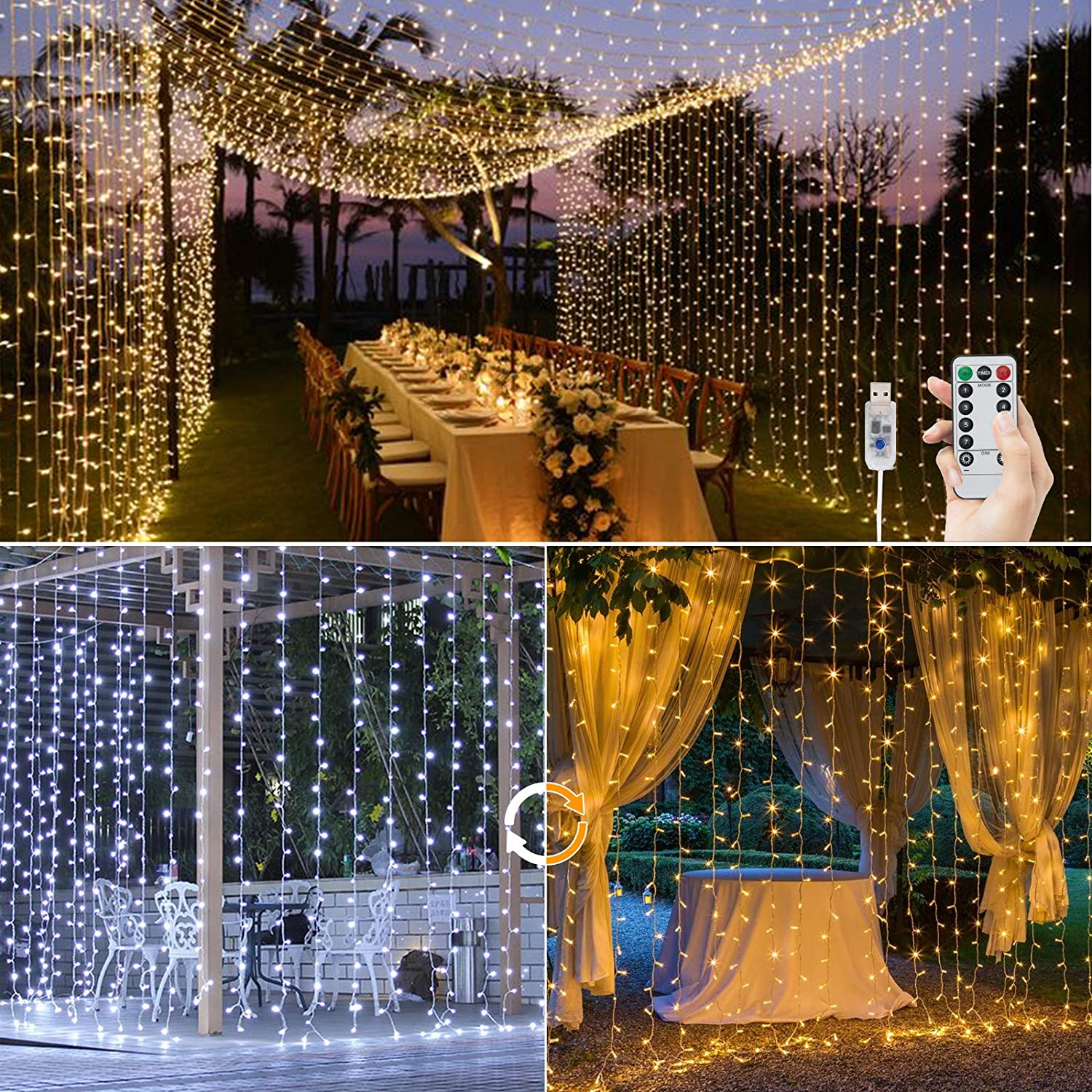 BLOOMWIN Dimmable LED Curtain Window Light USB 3m x 3m 300LED String Lights with 9 Modes Fairy Lights DOWN TO £9.99 @ Amazon