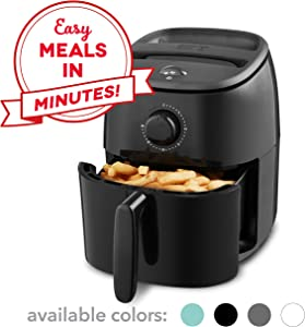 Dash DCAF200GBBK02 Tasti Crisp Electric Air Fryer + Oven Cooker with Temperature Control, Non Stick Fry Basket, Recipe Guide + Auto Shut Off Feature, 2.6Qt, Black
