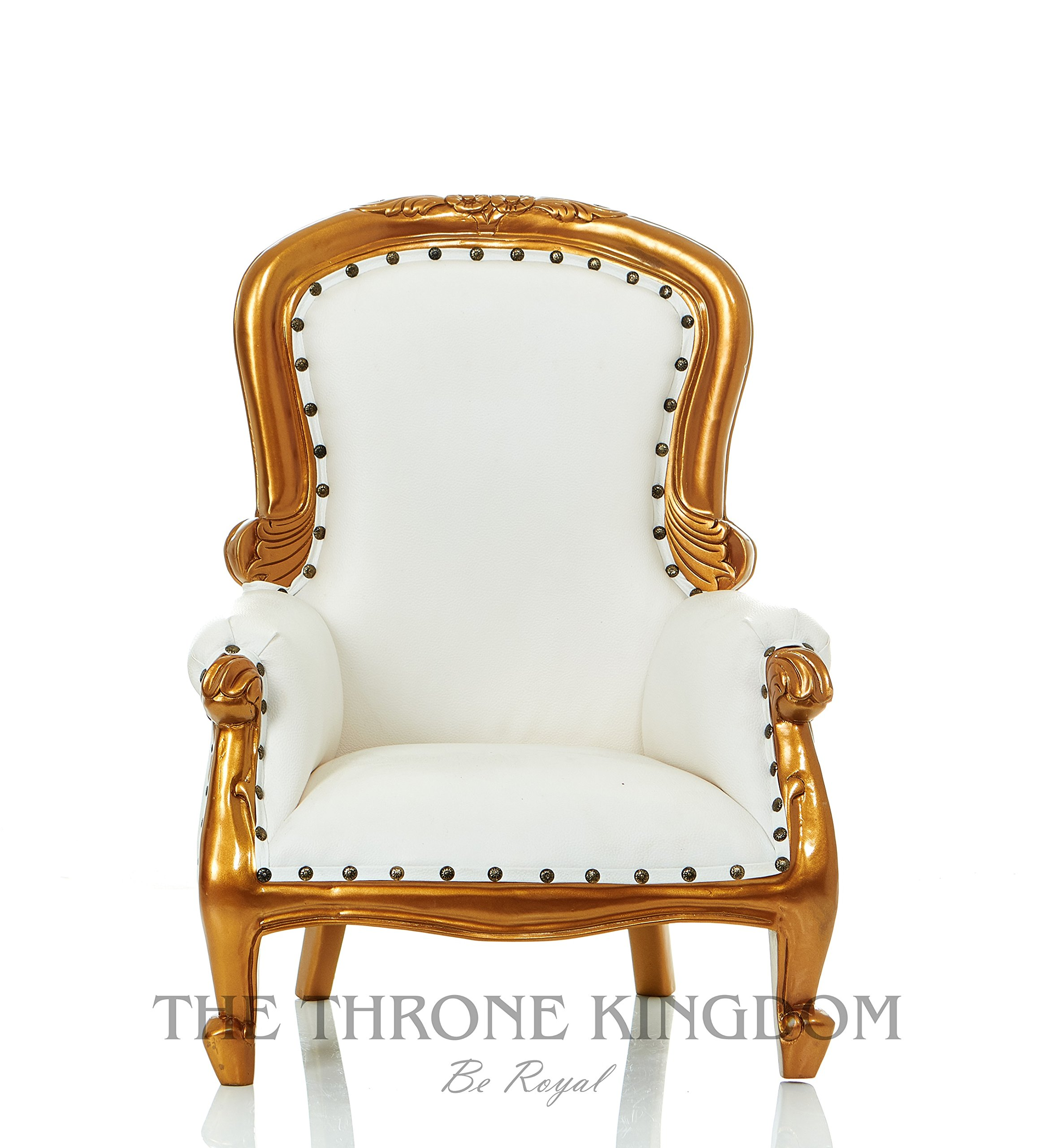 Ethan Mini Mahogany Children Baby Carved Party Throne Chair Armchair White with Gold Leaf