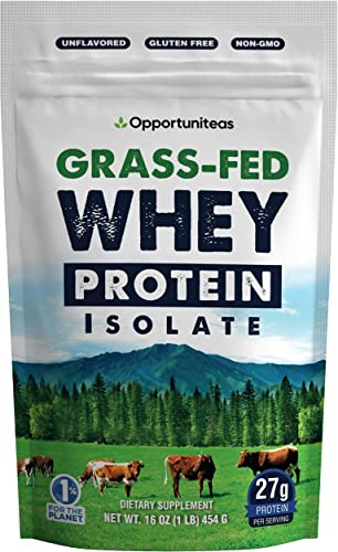 Grass Fed Whey Protein Powder Isolate – Unflavored Cold Processed Undenatured – Pure Wisconsin Grass-Fed Protein for Shake, Smoothie, Drink, or Food – Natural Non GMO No Gluten – 1 Pound