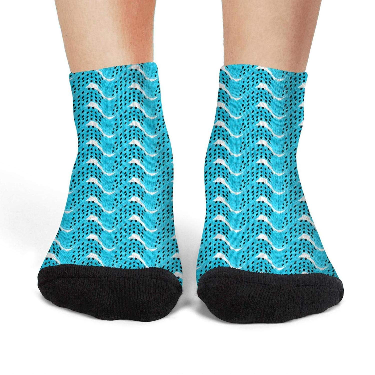 Mens low cut athletic Ankle sock Blue Abstract paint waves with dots vector Non-Slip Short Sock