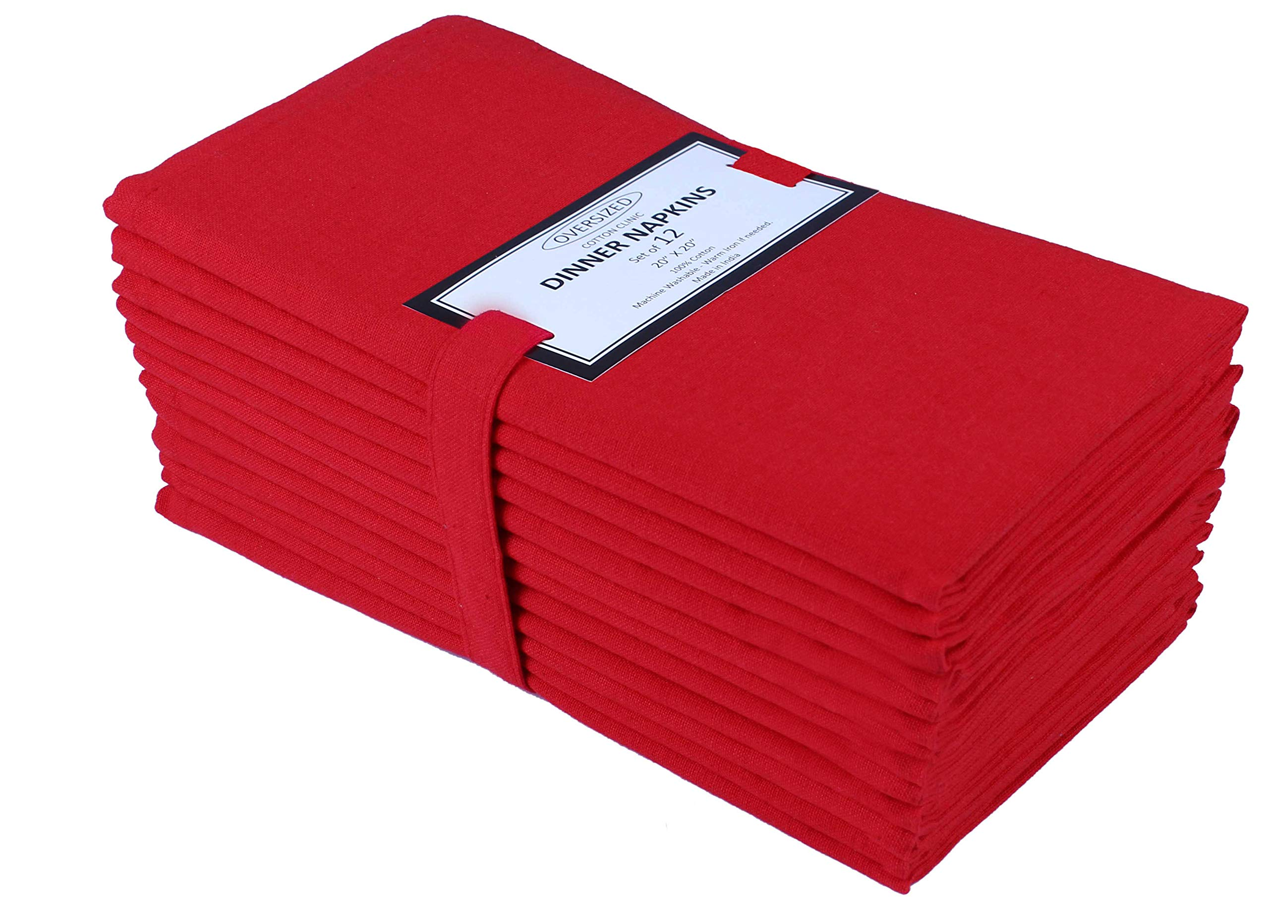 Cloth Napkin in Solid Cotton Fabric- Red Color, Oversized 20x20, Wedding Napkins,Cocktails Napkins,Tailored Mitered Corners & Generous Hem, Machine Washable Dinner Napkins Set of 12