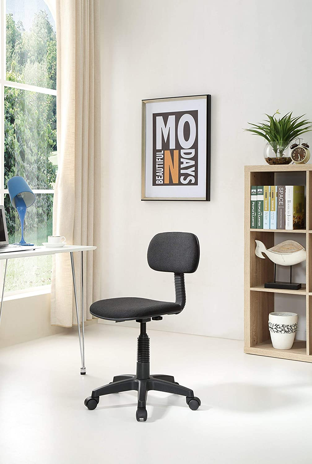 Renewed Hodedah Armless Swiveling Task Chair with Padded Back and Seat in Black Adjustable Height Low-Back