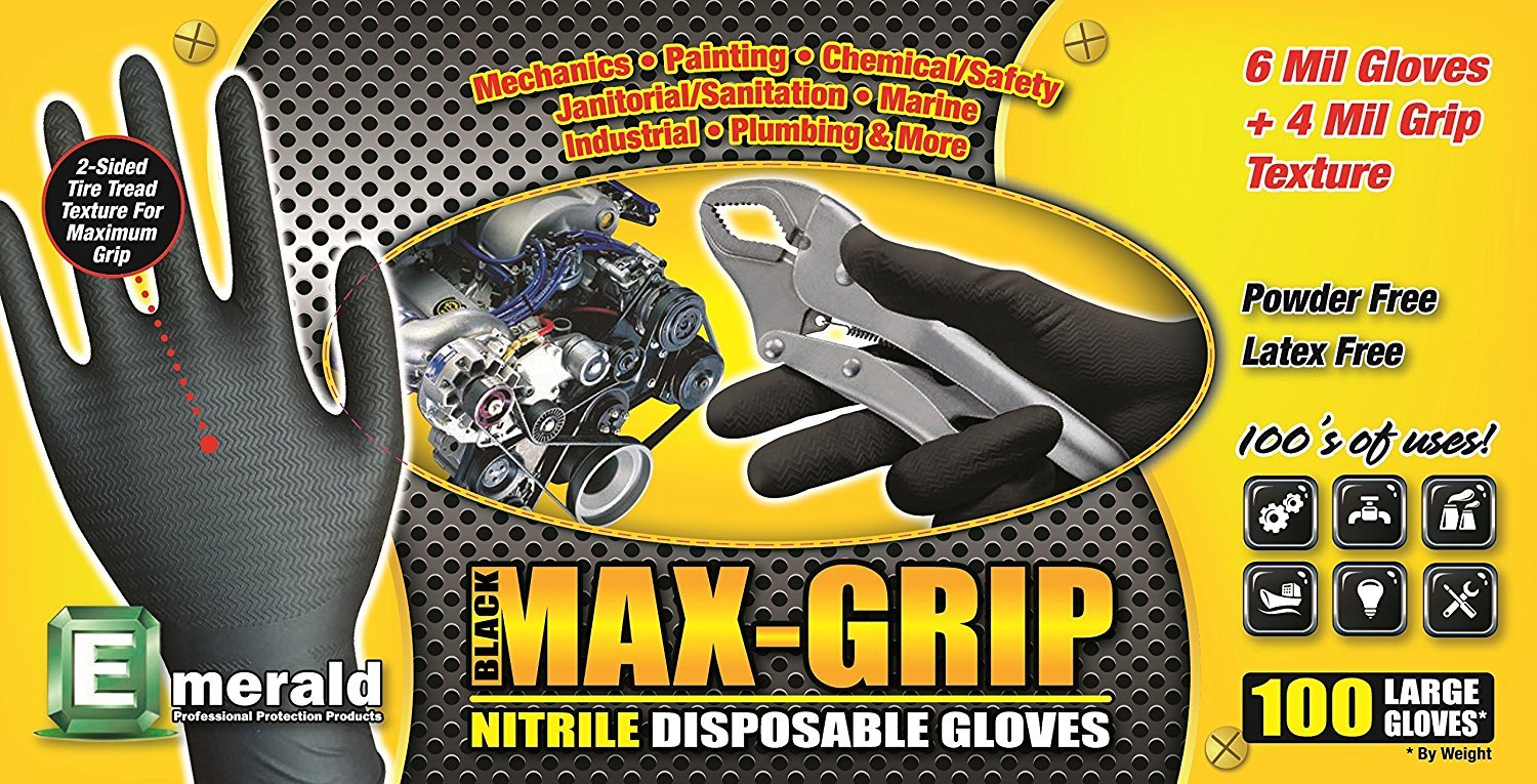 Emerald Z4999 Black MAX-Grip Powder Free Nitrile Glove 6 Mil Disposable with Beaded Cuff. 100 Glovesper Box, 10 Boxes, Total 1000 Gloves Size Medium,
