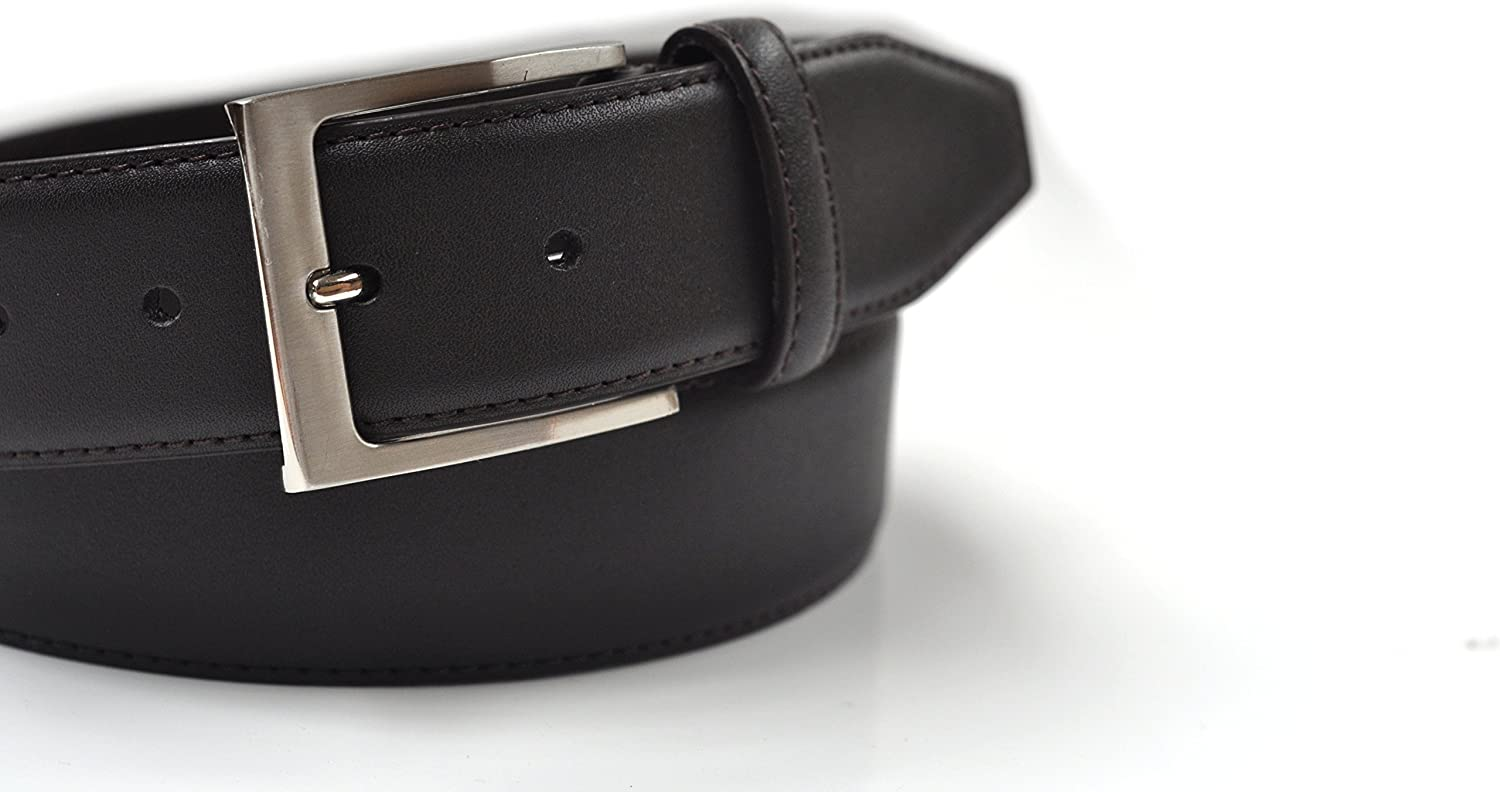 Feather Stitched Coated Leather Belt Mens 38mm 1.5
