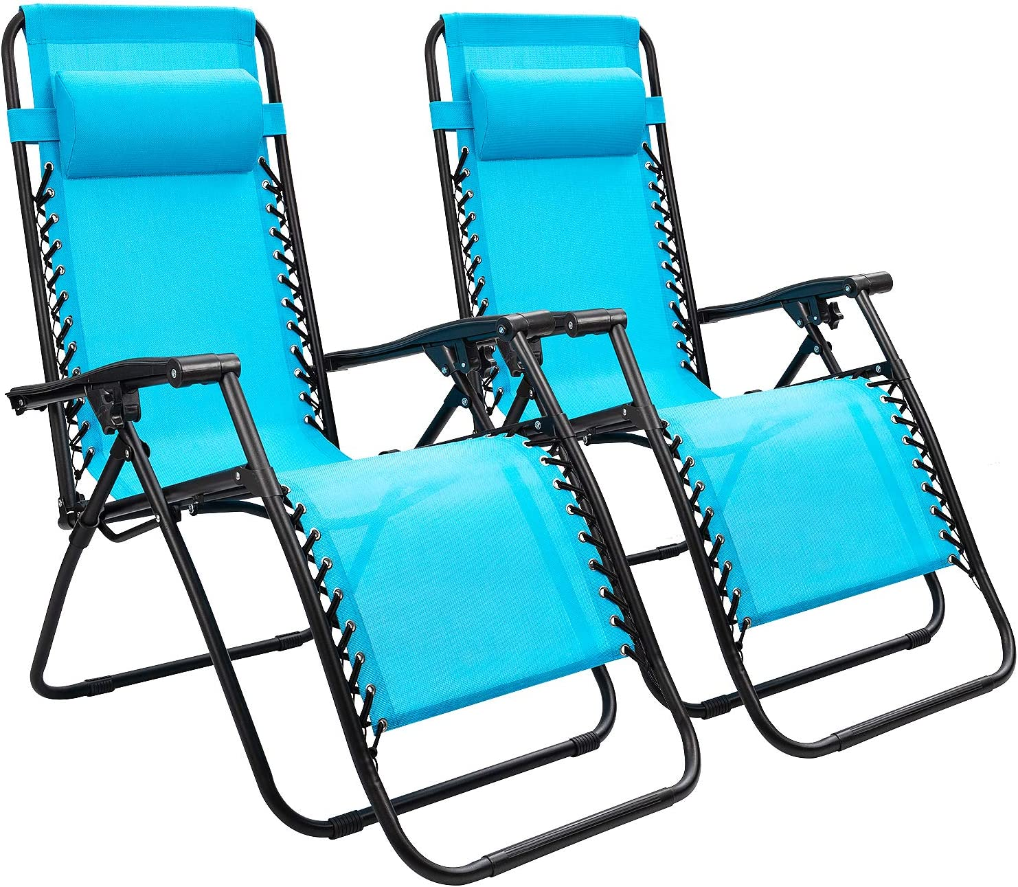 Devoko Patio Zero Gravity Chair Outdoor Folding Adjustable Reclining Chairs Pool Side Using Lawn Lounge Chair with Pillow Set of 2 Blue
